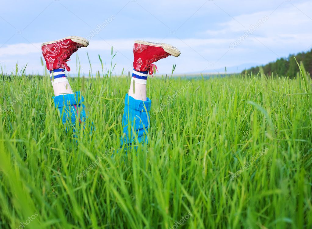 Legs, in a green grass under the blue sky  Stock Photo #1788193
