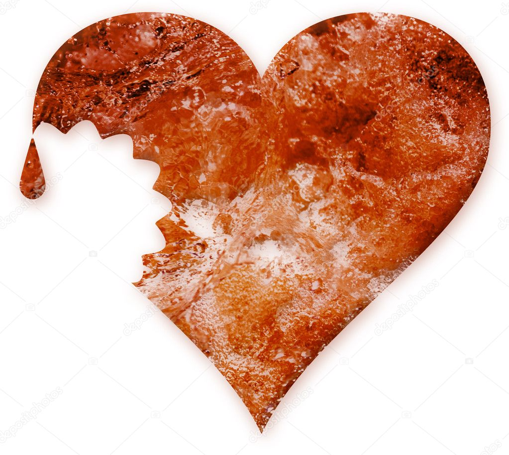 The damaged red heart on a white background  Stock Photo #1789170