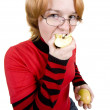 Royalty-Free Stock Photo: The girl eats an two apples