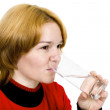 Girl with a water glass - Stock Photo