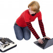 Girl with the laptop and a typewriter — Stock Photo
