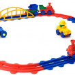 Plastic colour railway on a white — Stock Photo