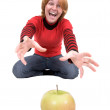 Woman stretch a hand to apple — Foto Stock