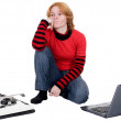 Girl with the laptop and a typewriter — Stock Photo #1794539