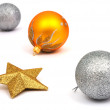 New-Year tree decorations on white - Stockfoto