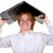 Girl under a roof from the laptop — Stock Photo #1795102