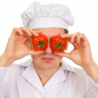 Cook with red tomato — Stock Photo #1796837