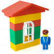 Toy house and little man — Foto de Stock