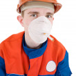 Man in respirator — Stock Photo