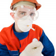 Man in respirator smoking — Stock Photo
