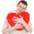 Man and heart — Stock Photo