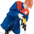 Labourer with hand drill — Stock Photo