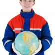 Stock Photo: Labourer with globe