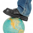Boot on globe — Stock Photo