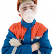 Stock Photo: Laborer on helmet and respirator