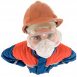 Laborer on the helmet and respirator - Stock Photo
