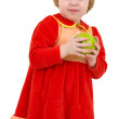 Little girl and apple — Stock Photo