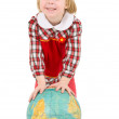 Little girl and terrestrial globe — Stock Photo #1798956