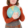 Foto Stock: Womand terrestrial globe