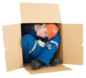 Labourer in box — Stock Photo