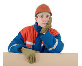 Labourer with box — Stock Photo