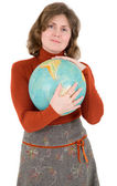 Woman and terrestrial globe — Stok fotoğraf