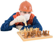 Builder play in chess — Stock Photo