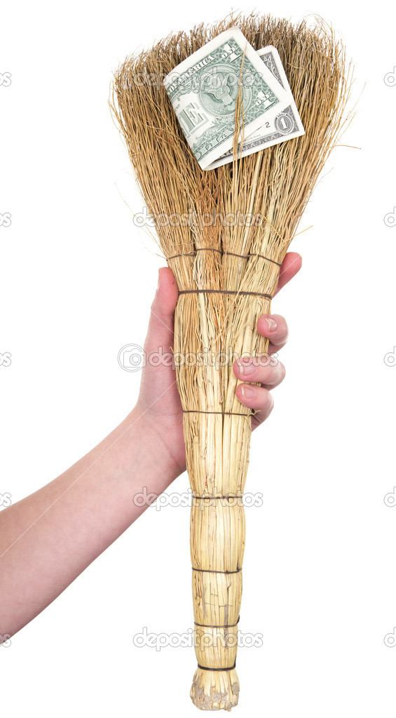 Old dirty broom with dollar on a white background — Stock Photo #1794753