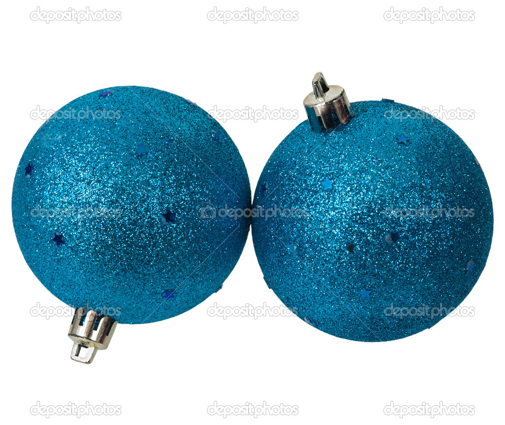 Two blue shine New Year's balls on the white background — Stock Photo #1795002
