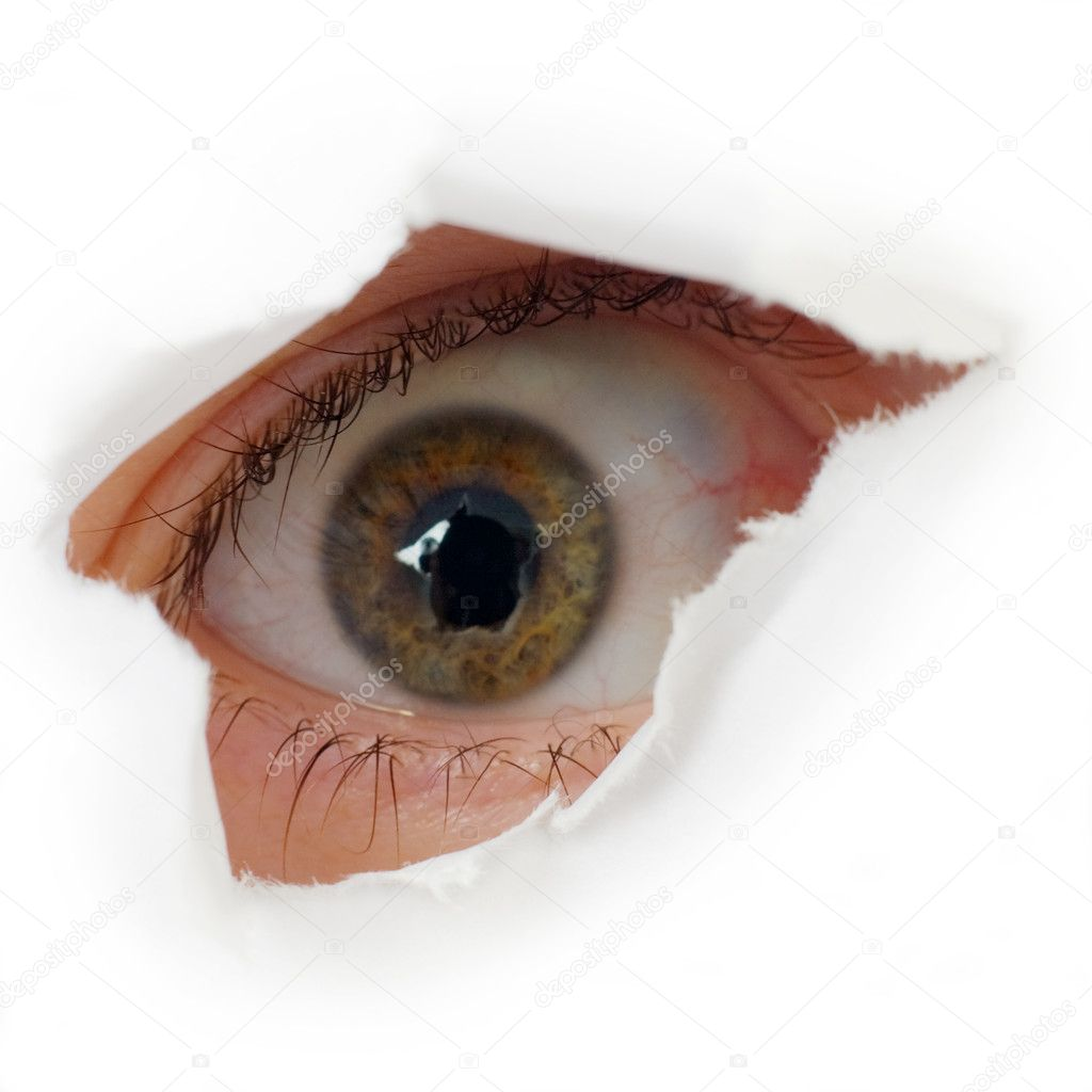 Eye looking through hole done in white paper — Stock Photo #1795560