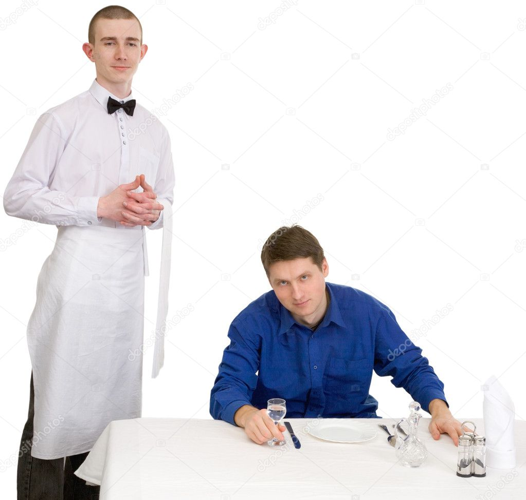 Waiter and guest of restaurant on a white background — Stock Photo #1797427