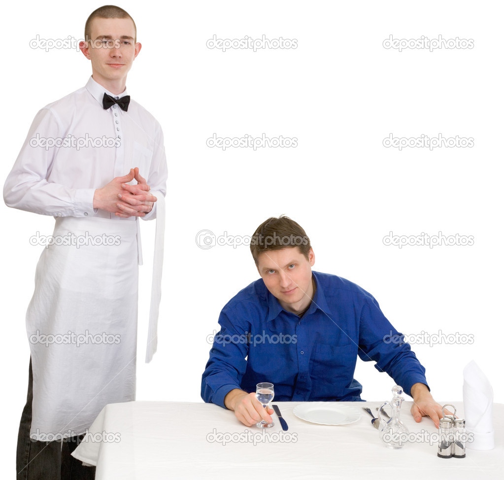 Waiter and guest of restaurant on a white background — Photo #1797427