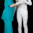 Man in bandage and nurse — Stock Photo