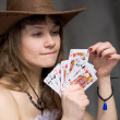 Portrait girl with a playing-cards — Stock Photo