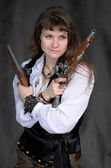 Girl - pirate with two ancient pistols — Stock Photo