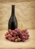 Dark bottle and red grapes bunch — Stock Photo