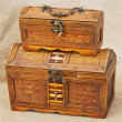 Two wooden ancient chest — Stock Photo
