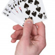Playing card on hand — Stock Photo