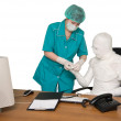 Stock Photo: The bandaged boss and nurse