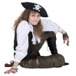Pirate - young woman with pirate hat — Stock Photo
