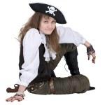 Пират - молодая женщина с пиратской шляпе — Стоковое фото