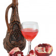 Stockfoto: Glass of wine, bottle, red pomegranate