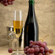 Champagne bottle, grape and bucket - Stock Photo