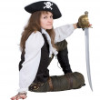 Pirate - young woman with pirate hat - Stock Photo