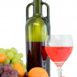 Bright still life with wine and fruit — Stock Photo