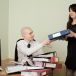 Bookkeeper and secretary on workplace — Stock Photo