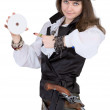 Pirate - woman with disc — Stock Photo