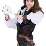 Пират - женщина с диска — Стоковое фото