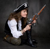Girl - pirate with two pistol in hands — Stock Photo