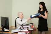 Bookkeeper and secretary on workplace — Foto Stock
